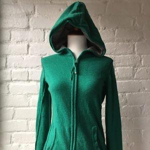 Banana Republic Green Cashmere Blend Zip Hoodie